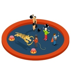 Isometric 3d circus characters animal trainer vector