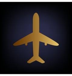 Airplane sign golden style icon vector