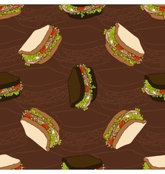 Seamless pattern of two types sandwiches vector