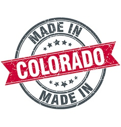 Made in colorado red round vintage stamp vector