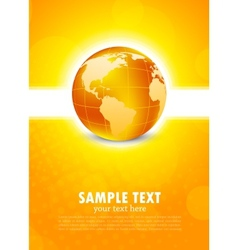 Orange background with globe vector