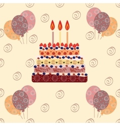 Birthday cake with three candles vector