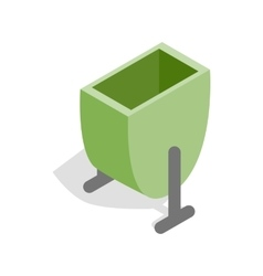 Green trash outdoor bin icon isometric 3d style vector