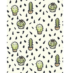 Cactus hand-drawn seamless pattern vector