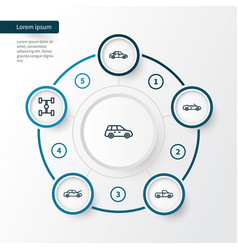 Car outline icons set collection of bonnet car vector