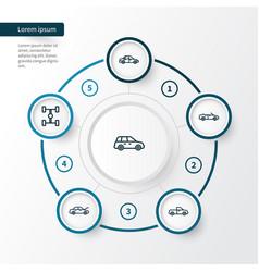 Car outline icons set collection of bonnet car vector