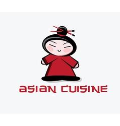 Cartoon asian woman with chopstick inthe hair vector