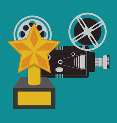 Cinema camera film and award trophy vector