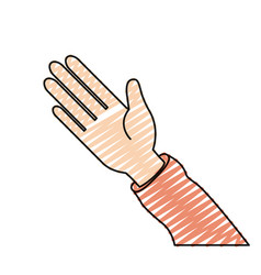 Color crayon silhouette hand of symbol of greeting vector