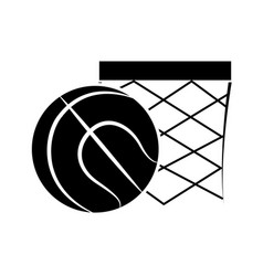 Contour basketball and basket with the ball icon vector
