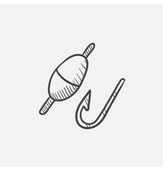 Fishing hook with bobber sketch icon vector image