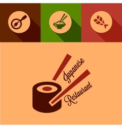 flat japanese restaurant icons vector image