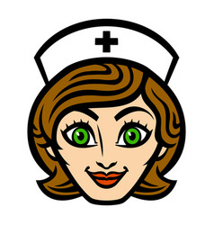 friendly female nurse cartoon face smile vector image vector image