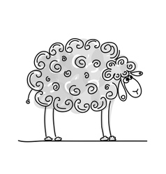 Funny grey sheep sketch for your design vector