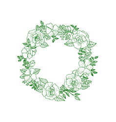 green forest flowers and leaves wreath vector image