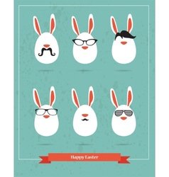 Happy Hipster Easter - set of stylish BUNNY icons vector image vector image