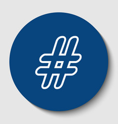 hashtag sign white contour vector image vector image