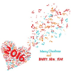 Merry christmas and happy new year 2016 musical is vector