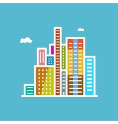 Modern buildings isolated on blue background vector