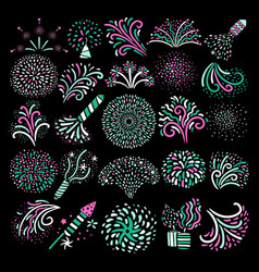 modern festive firework icons collection vector image
