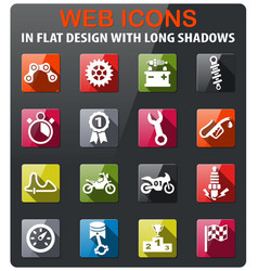 Moto racing icon set vector