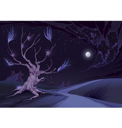 Nightly landscape with tree vector image vector image