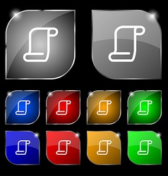 Paper scroll icon sign set of ten colorful buttons vector