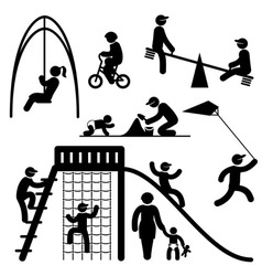 Peoples playground icons vector