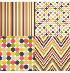 Seamless stripes zig zag and polka dots vector