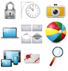 Set 14 realistic icons vector image