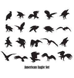 Set of american eagle silhouettes vector