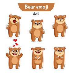 Set of cute bear characters set 1 vector