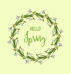 Spring greeting card with snowdrops flower wreath vector