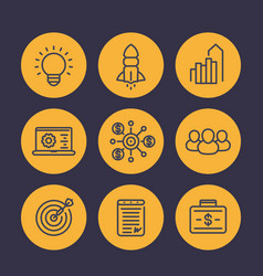 Startup icons in linear style vector
