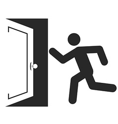 Stick man figure enters an open door icon design vector