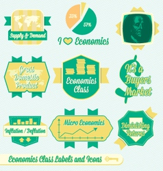 Vintage Economics Class Labels and Icons vector image vector image