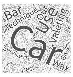 Car valeting and detailing techniques word cloud vector