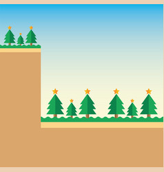 Background mountain christmas tree vector