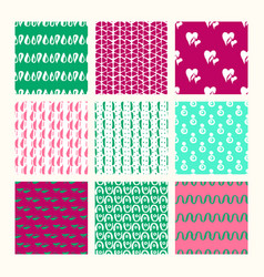 Set of 9 styled ultimate hand drawn seamless vector