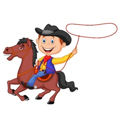 Cartoon cowboy rider on the horse throwing lasso vector
