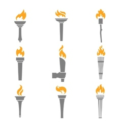 Fire torch icons vector