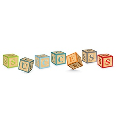 Word success written with alphabet blocks vector