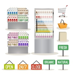 Supermarket shelves set vector