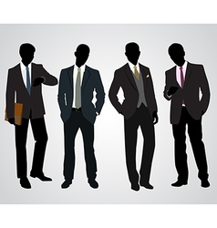 Four businessman silhouettes vector