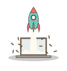 Isolated cartoon rocket and laptop online start up vector