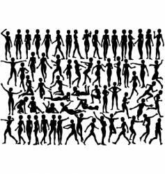 Young female silhouettes vector