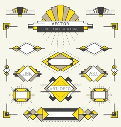 Art deco style line and geometric labels and badge vector