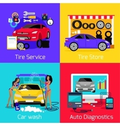 Services car washing diagnostics tire vector