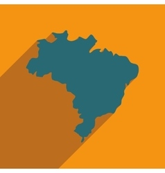 Flat icon with long shadow map of brazil vector