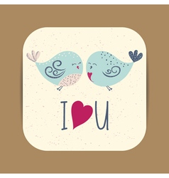 Cute card template with two birds in love vector